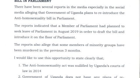 THE UGANDA GOVERNMENT  REFUTES ANY CLAIMS ON RETABLING THE ANTI-HOMOSEXUALITY BILL.